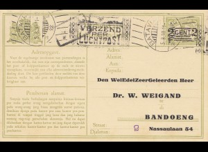 Ned. Indie 1930 Batavia to Bandoeng - post card adress change, cancel Luchtpost