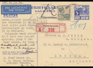 Ned. Indie 1935: post card registered air mail Soengeipenoeh to Arnhem/Holland