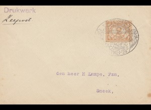 Ned. Indie 1929: printed matter Weltevreden to Sneek