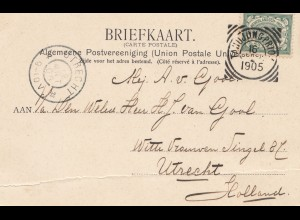 Ned. Indie 1905: post card Weltevreden to Utrecht/Holland