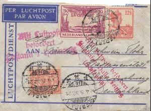 Ned. Indie 1932 to Braunschweig Mit Luftpost befördert,PA Hannover+Halle/Leipzig