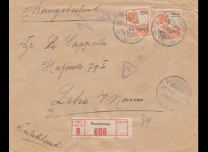 Ned. Indie 1922: Registered Bandoeng to Lehe, censor Reichsfinanzverwaltung
