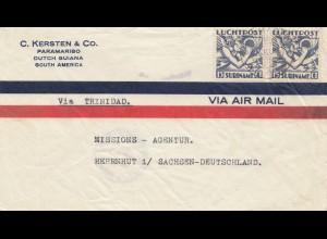 Surinam: Paramaribo 1934 to Missions-Agentur Herrnhut/Sachsen via Trinidad