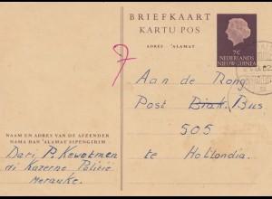 New Guinea 1962: post card Merauke to te Hollandia 505, Post Bus