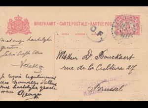 Ned. Indie 1918: post card Salatiga to Brussel - Retour