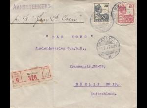 Ned. Indie 1921: Registered Batavia to Berlin