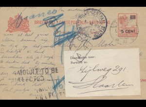 Ned. Indie 1930: post card to Holland - forwarded