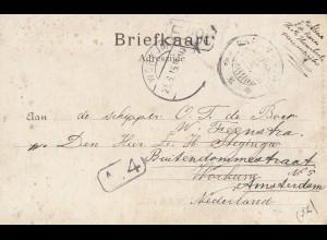 Surinam 1915: post card Paramaribo to Amsterdam