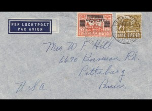 Ned. Indie 1936: air mail Soengei to Pittsurg/Pen