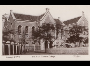 Curacao 1929: post card St. Thomas College to Amsterdam