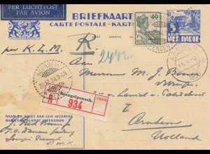 Ned. Indie 1934: registered post card Soengeipenoeh to Arnhem/Holland