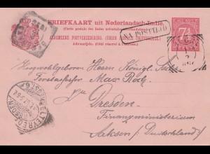 Ned. Indie 1896: post card Weltevreden to Dresden