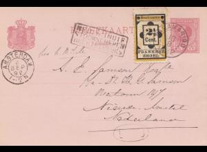 Surinam 1892: post card Paramaribo to Amsterdam