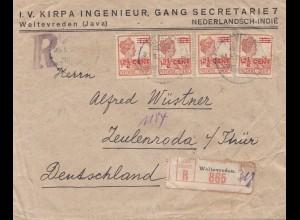 Ned. Indie 1922: Registered Weltevreden to Zeulenroda