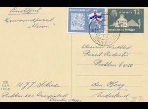 Ned. Antillen 1970 Aruba Oranjestad to den Haag Puzzle card