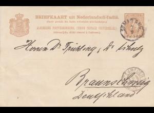 Ned. Antillen 1891: post card to Braunschweig