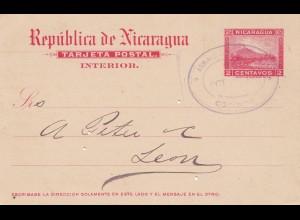 Nicaragua: 1902 post card Corinto to Leon