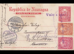 Nicaragua 1907: post card Managua to Berlin, forwarded Schlachtensee