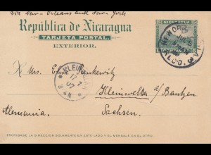 Nicaragua 1907: post card via New Orleans to Mädchenanstalt Kleinwelka/ Bautzen
