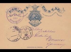 Nicaragua 1887: post card P2 Corinto to Bremen