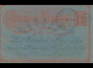Nicaragua 1894: post card Leon to Managua