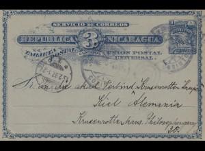 Nicaragua 1897: post card Corinto to Kiel, Konzerttheaterhaus