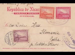 Nicaragua 1901: post card via Panama -New York to Gotha