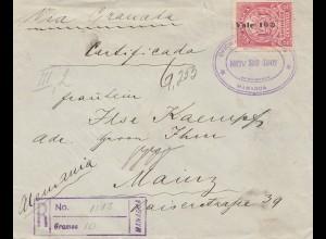 Nicaragua 1907: registered Gramos/Managua to Maniz