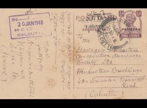 Pakistan: 1948: post card Jessore to Calcutta/India