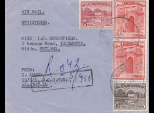 Pakistan: registered letter to Isleworth / England