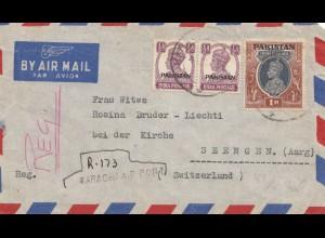 Pakistan: 1948: air mail Karachi air port to Seengen/Kirche/Switzerland