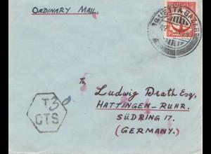 Pakistan 1936: Ordinary Mail Quetta to Hattingen/Ruhr - Germany