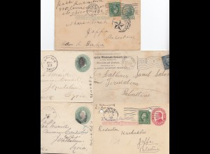 Israel: 5 post cards to Jaffa/Jerusalem from USA