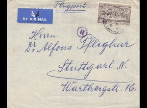 Israel: air mail 1951 Tel Aviv to Stuttgart