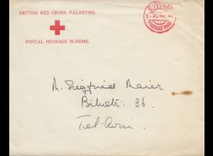 Palestine: 1941: British red cross Jerusalem to Tel Aviv