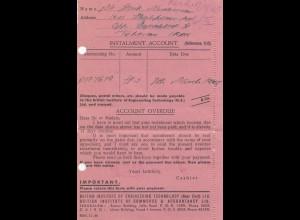 Palestine: 1945: Jerusalem Instalment Account Teheran