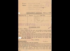 Palestine: 10.1944: Jerusalem Instalment Account Teheran, britisch censor