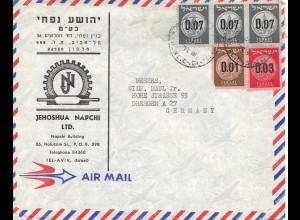 Palestine: Tel Aviv, air mail to Dresden