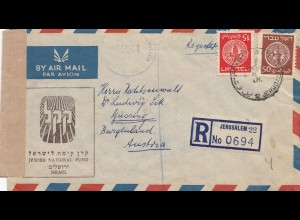 Israel: 1949: air mail registered Jerusalem to Güssing/Austria