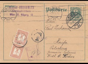 Palestine: 1935: post card Wien to Haifa, Taxe