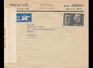 Israel: 1955: air mail to Switzerland/Basel