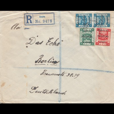 Palestine: 1922: Registered Haifa to Berlin