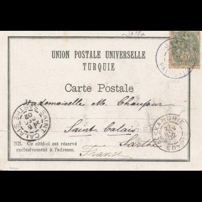 Palestine: 1902 post card Jerusalem/Jaffa to Saint Calais via Alexandrie/Egypte
