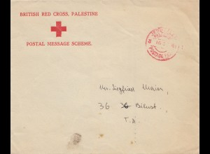 Palestine: 1941: British red cross Jerusalem to Tel Aviv, postage paid