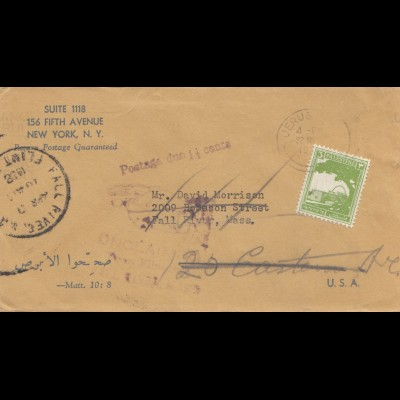 Palestine: letter to Dorchester, return to Writer - New York