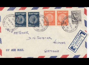Palestine: 1957: registered air mail Tel Aviv to Weimar/Germany