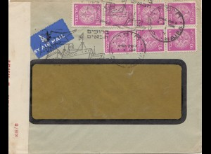 Palestine: air mail cover, ship cancel, censor