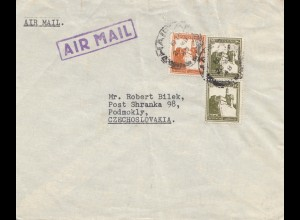 Palestine: 1948: air mail to Podmokly Cz