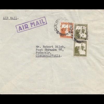Palestine: 1948: air mail to Podmokly Cz