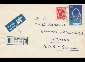 Israel: 1958: air mail registered Tel Aviv to Weimar - DDR